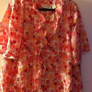 Coral, red, pink multi color Silk blouse size 2X